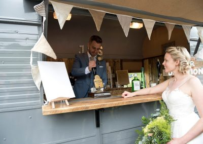 Bride & Groom enjoying the Fizz Box Bar